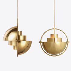 Gubi's Multi-Lite, designed by Louis Weisdorf in is an elegant pendant light that plays with geometric shapes. As its name suggests, the pendant has multiple uses and configurations: by rotating the two shades around the cylindrical middle light c Interior Lighting, Lighting Design, Open Office Design, Copper Lighting, Wall Lights, Ceiling Lights, Pendant Lamp, Sconces, Brass