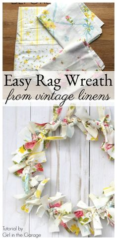 Make an easy DIY rag wreath for spring with vintage fabric - Step-by-step tutorial by Girl in the Garage diy spring Easy DIY Rag Wreath from Vintage Bed Linens - Girl in the Garage® Diy Craft Projects, Crafts For Kids, Craft Ideas, Diy Ideas, Decor Ideas, Kids Diy, Decor Crafts, Easy Crafts, Embroidery Hoop Crafts