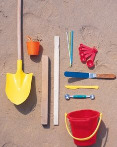 Sandcastle supplies...big shovel, buckets