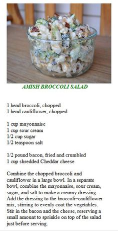Broccoli Salad used Truvia instead of sugar*****just made this and . - Salads -Amish Broccoli Salad used Truvia instead of sugar*****just made this and . Amish Broccoli Salad, Broccoli Cauliflower Salad, Asian Broccoli, Cauliflower Recipes, Broccoli Salads, Baked Cauliflower, Broccoli Casserole, Great Recipes, Favorite Recipes