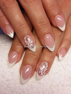Gel Polish Manicure, Shellac Nails, Manicure And Pedicure, Bride Nails, Wedding Nails, Gem Nails, Almond Shape Nails, Luxury Nails, Beautiful Nail Designs