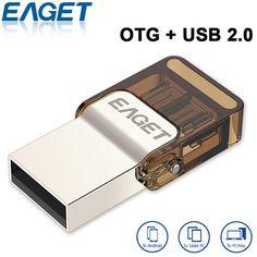 EAGET V9 Ultra Mini Encryption Metal USB Flash Drive USB 2.0 OTG Smartphone Pen Drive