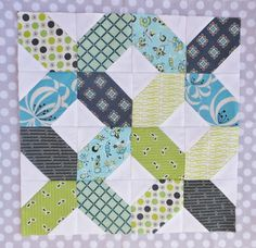 """Road to Tennessee block.  3.5"""" colored center square and 2"""" white (or other color) corner square.  Block will be unfinished at 12.5"""". Can also do with 5"""" and 3"""" corners."""