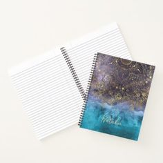 Gold floral mandala and confetti image notebook - watercolor gifts style unique ideas diy