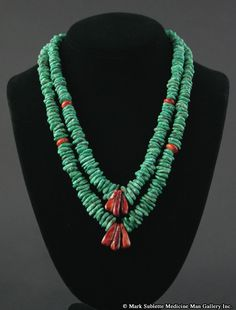 """Ava Marie """"Cool-Ca-Ya"""" Coriz (1948-2011) - Santo Domingo - Two Strand Turquoise and Spiney Oyster Necklace     Contemporary"""