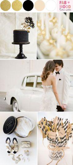 Black White Gold Wedding Colors | http://fabmood.com/black-white-gold-glam-wedding/