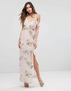 New Look Floral Print Cold Shoulder Maxi Dress