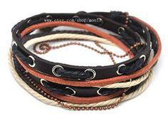 Adjustable Cuff Bracelet Made fo Black Leather and Multicolor Ropes With Chain Bracelet and Metal Snapper