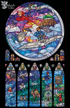 Ghibli stained glass illustration