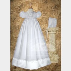 02294017f $111.99-$129.00 Baby Baby Girls White Lace Applique Baptism Gown Dress 3M -  Your baby