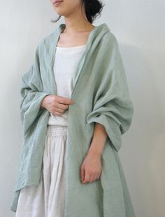 linening robe - I love the soft color.  This would be so cool and refreshing after a swim or after a shower on a hot humid muggy summer day in the South.