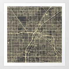 Las Vegas Map 2 Art Print