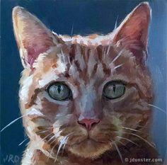 "Daily Paintworks - ""Shadowed Cat"" - Original Fine Art for Sale - © J. Dunster"