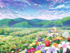 This HD wallpaper is about green clouds landscapes flowers hills anime blue skies Nature Sky HD Art, Original wallpaper dimensions is file size is Episode Interactive Backgrounds, Episode Backgrounds, Hakuna Matata, Fantasy Landscape, Fantasy Art, Anime Places, Naruto, Cute Anime Pics, Anime Scenery