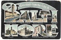 VINTAGE 1908 POSTCARD BALTIMORE MARYLAND LARGE LETTERS