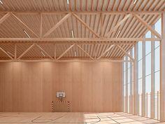 Projektbeispiele / Visualisierung Halle: Fachwerk, Pfettenlage, Fassadenstützen aus BauBuche Träger,  aussteifende Wandscheiben aus BauBuche Platte.