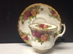 Looking for teacups & saucers to plant crocus & daffodils for Courtney's wedding - Royal Albert Old Country Roses Bone China Tea Cup and Saucer from England
