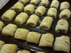 SAUSAGE ROLLS --  2 ingredients super simple YUMMO!  Puff pastry and sausage baked inside.
