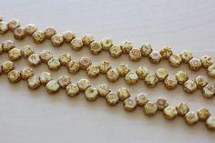 6MM Honeycomb 2 Hole Beads Chalk DK travertine by TwinBeadsLLC