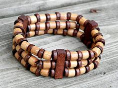 Mens Wood Bracelet, Fathers Day, Unisex Stretch Bracelet by Raadhe Handmade Jewelry