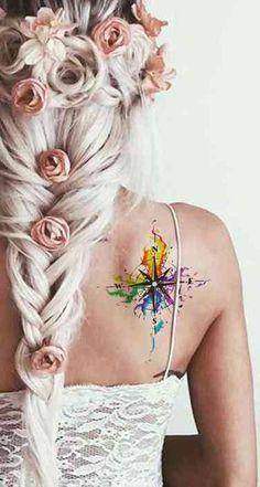 Rainbow Watercolor Compass Back Shoulder Tattoo Ideas for Women - arco iris acua. - Rainbow Watercolor Compass Back Shoulder Tattoo Ideas for Women – arco iris acuarela brújula atr - Model Tattoos, Body Art Tattoos, New Tattoos, Tatoos, Back Of Shoulder Tattoo, Shoulder Tattoos For Women, Tattoo Son, Back Tattoo, Inkbox Tattoo