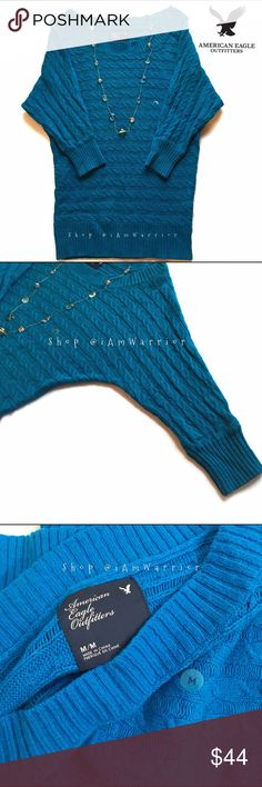 American Eagle blue cable knit boat neck sweater Super cute NWOT AE cable knit sweater with 3/4 dolman sleeves and longer length that's perfect to pair with your favorite skinny jeans. American Eagle Outfitters Sweaters