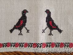 PAIR Antique French Linen 19th c BLACKBIRDS Towels Runners Fabric 19th c www.Vintageblessings.com