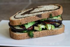 Eggplant and Pesto Sandwich with Sun-Dried Tomatoes - Thrifty Veggie Mama