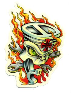 flaming piston sticker hot rod drag race tattoo kustom kulture