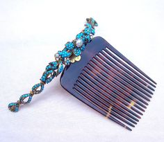 Antique hair comb Victorian turquoise faux by ElrondsEmporium