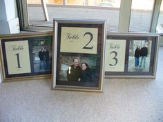 use engagement pictures as part of the table numbers