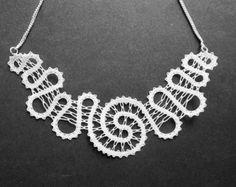 Spirale     Collana spirale pizzo   Nozze gioielli da sposa   Inverno bianco neve   Gioielli fatti a mano pizzo a tombolo
