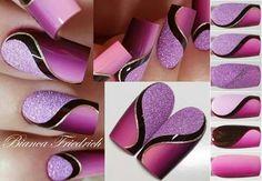 Part 1 - ultra violet, purple, light purple, purple glitter, silver lines