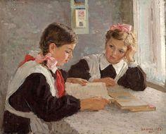 """Homework"" -- by Vladimir Aleksandrovich Serov (Russian, 1910–1968) *"