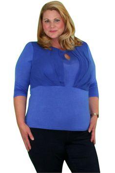 Plus Size Royal Blue Top. 80% Cotton.