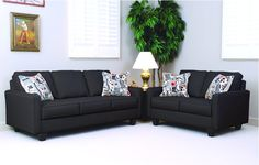 Serta Upholstery by Hughes Sofa & Love Seat with reversible cushions. Fabric is Graham Black and pillow fabric is Graffiti Nightlight.