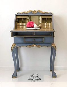 SOLD- available custom finish / Chippendale Style Secretary Desk, Handpainted Blue and Gold, Office Paint Furniture, Furniture Projects, Furniture Making, Cool Furniture, Furniture Design, Bedroom Furniture, Desk Makeover, Furniture Makeover, Secretary Desks