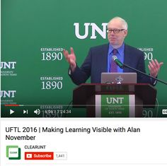 """University of North Texas April 22, 2016  Alan November is an international leader in educational technology. thrives on confirming and challenging educators' thoughts about what's possible in the world of teaching and learning. He's authored numerous articles and books including """"Who Owns Learning?"""""""