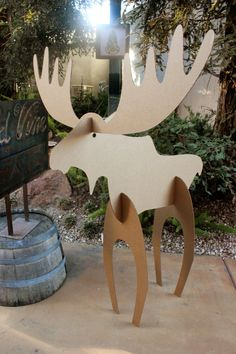 5ft tall Cardboard Christmas Moose Free Shipping by MettaPrints
