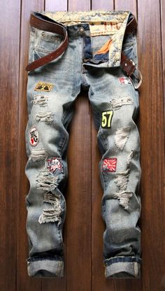 d51b12da07d Cotton+Jeans Holes and Cat s Whisker Appliques Zipper Fly Denim Pants