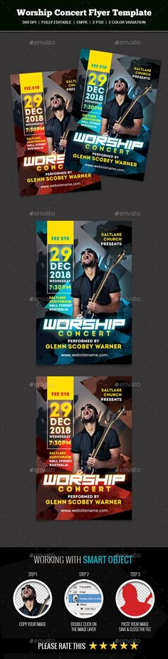 Worship Concert Flyer by abira This is a Worship Concert Flyer Template Which is fully editablePack included: 2 PSD Files 6.25 x 4.25 inches.(0.25 bleed area.) 3