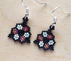 Beaded Flower Earrings ~ Triangular Jewellery ~ Bead Jewelry