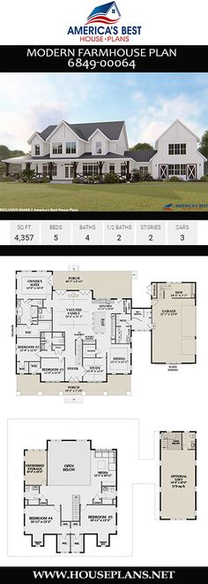 Check out Plan 6849-00064, a 2-story Modern Farmhouse plan giving you 4,357 sq. ft., 5 bedrooms, 4 full bathrooms, 2 half bathrooms, an amazing wrap around front porch, a loft area, study, and a mudroom.