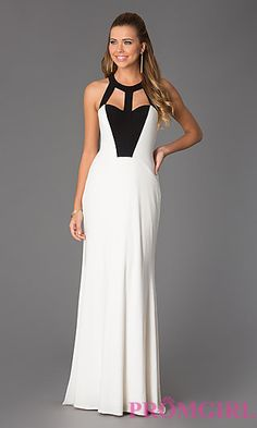 Floor Length White and Black Prom Dress at PromGirl.com