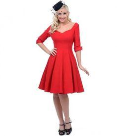 Unique Vintage Red Three-Quarter Sleeve Cocktail Dress