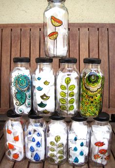 Reusable glass water bottles-hand painted and only $20.00.  Use it as a water bottle, vase or tea light holder.
