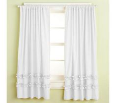 Kids' Curtains: Kids White Ruffle Curtain Panels in All Room Decor Girl Curtains, Ruffle Curtains, Cute Curtains, Panel Curtains, Curtain Panels, Plain Curtains, Country Curtains, E Room, Little Girl Rooms