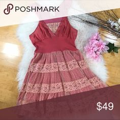 Free People Pink Ruffle Dress! Sz 6 Free People Pink Ruffle Dress! • So pretty on! •EUC •Ruffle skirt with pink lining • Sequin and button detail in front • Back has lace detail. Free People Dresses Mini