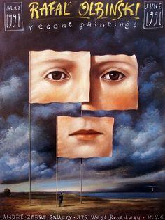 Rafal Olbinski, Recent Paintings 1991,  polski plakat wystawowy, Rafał Olbiński