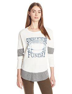 Original Retro Brand Women's Sunday Monday Funday Boyfriend Thermal  White  Medium